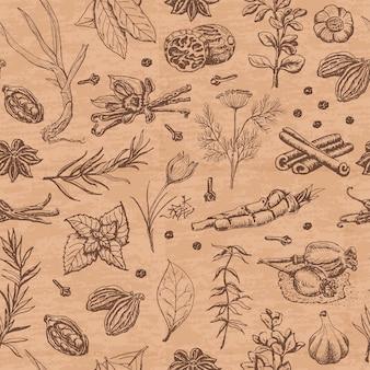 Modèle sans couture avec des épices et des herbes sur une couleur beige