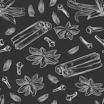 Modèle sans couture d'épices de vin chaud dessinés à la main sur le tableau noir. bâtons de cannelle, clous de girofle, vanille, anis, cardamome, gingembre. style de gravure. illustration vectorielle