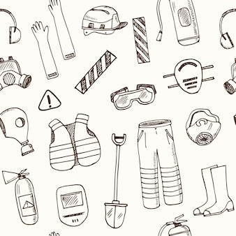 Modèle sans couture d'équipement de protection isolé illustration