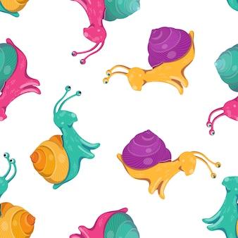 Modèle sans couture avec des escargots multicolores.