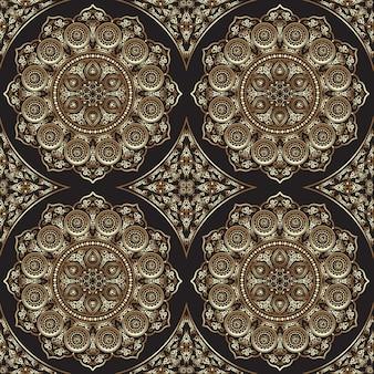 Modèle sans couture est avec mandala - ornement rond