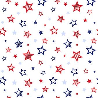 Modèle sans couture des états-unis patriotique étoiles rouges et bleues