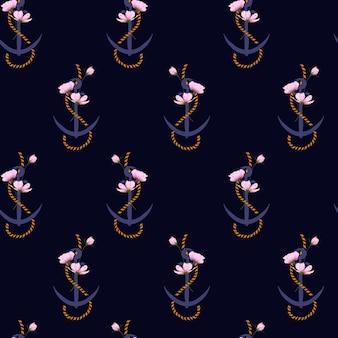 Modèle sans couture d'été ancre marine corde et fleurs.