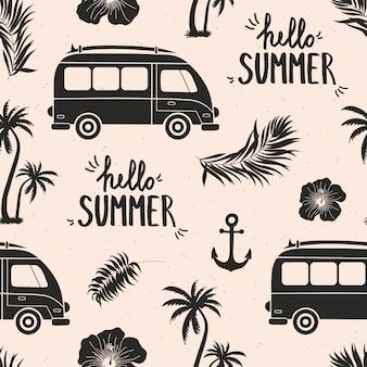 Modèle sans couture de l'été avec des éléments tropicaux.