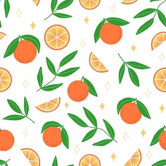 Modèle sans couture d'été de feuilles d'oranges et de brindilles à plat