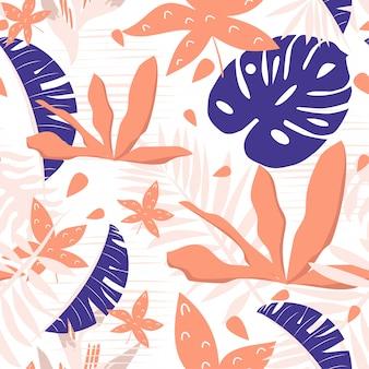 Modèle sans couture de l'été avec des feuilles tropicales orange et violets