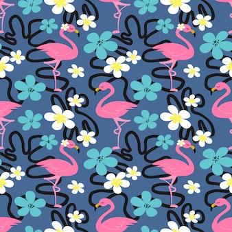 Modèle sans couture de l'été avec flamingo.