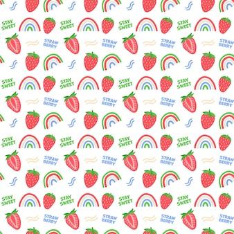 Modèle sans couture d'été avec des fraises et des arcs-en-ciel