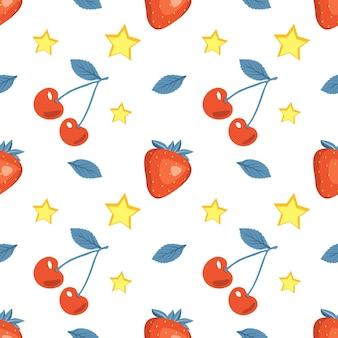 Modèle sans couture d'été mignon avec des cerises, des fraises et des étoiles