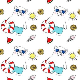 Modèle sans couture de l'été mignon ours blanc dessinés à la main