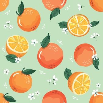Modèle sans couture d'été avec des oranges et des fleurs.