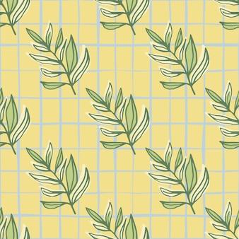 Modèle Sans Couture D'été Avec Ornement De Feuillage. Feuilles Branches Imprimées Vertes Sur Fond Jaune Avec Chèque. Vecteur Premium