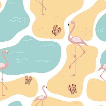 Modèle sans couture d'été avec sable de plage et flamants roses