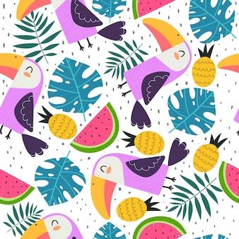 Modèle sans couture d'été avec des toucans de dessin animé