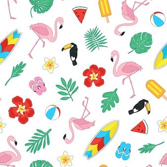 Modèle sans couture d'été tropical