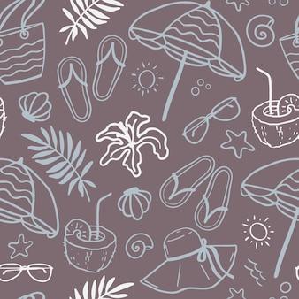 Modèle sans couture d'été. vacances, été, mer. icônes de mer vectorielles dessinées à la main.