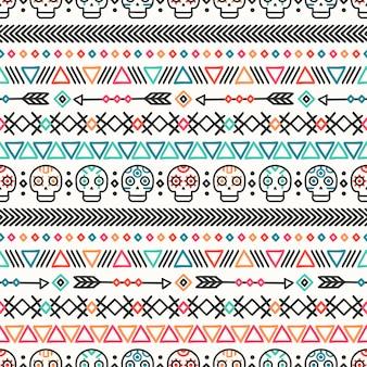 Modèle sans couture ethnique mexicain de la ligne dessinée main tribale.