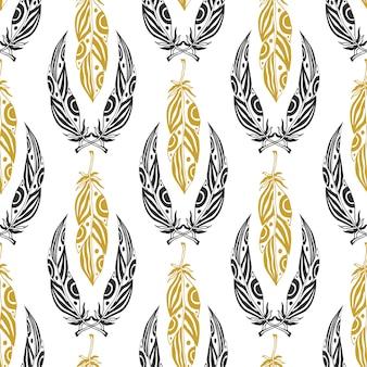Modèle sans couture ethnique avec des plumes de beauté. plume tribale vintage en couleurs noir et or