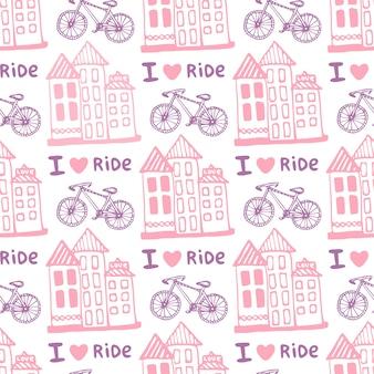 Modèle sans couture étiré de main avec des maisons mignonnes et vélo en couleurs roses