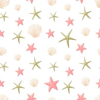 Modèle sans couture. étoile de mer de dessin animé et coquillages sous-marins.