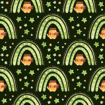 Modèle sans couture avec des étoiles arc-en-ciel de noël et un chat mignon avec un chapeau d'hiver et une écharpe
