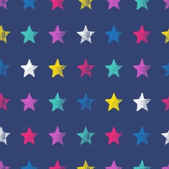 Modèle sans couture avec des étoiles bleues dessinées à la main sur fond bleu. texture grunge abstraite. illustration vectorielle