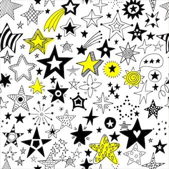 Modèle sans couture d'étoiles dessinées à la main.