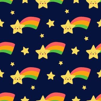 Modèle sans couture avec des étoiles kawaii mignonnes