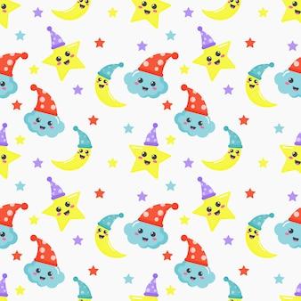 Modèle sans couture étoiles, lune et nuages. fond d'écran kawaii bébé couleurs pastel mignonnes.