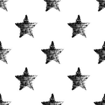 Modèle sans couture avec des étoiles noires dessinées à la main. texture grunge abstraite. illustration vectorielle