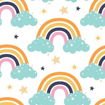 Modèle sans couture avec des étoiles et des nuages arc-en-ciel colorés dans un style plat sur fond blanc