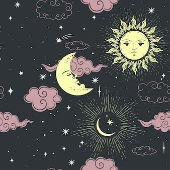 Modèle sans couture étoiles soleil et lune