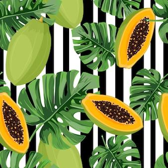 Modèle sans couture exotique avec feuilles de monstera et papaye.
