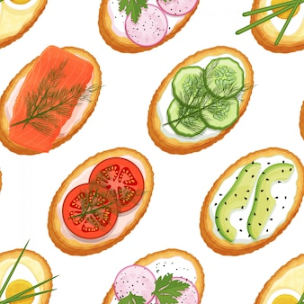 Modèle sans couture fabriqué à partir de toasts avec différentes garnitures sur fond blanc. de délicieux sandwichs. image sans fin. style de bande dessinée. objet pour emballage, publicités, menu. illustration vectorielle.