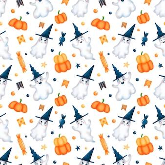 Modèle sans couture de fantômes halloween dessin animé mignon