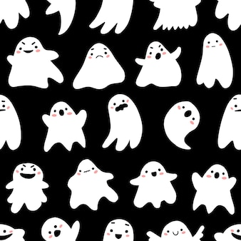 Modèle sans couture avec des fantômes mignons dans un style de dessin animé mignon doodle sur fond noir