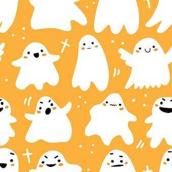 Modèle sans couture avec des fantômes mignons dans un style de dessin animé mignon doodle sur fond orange clair