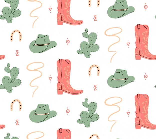 Modèle sans couture. far west, crâne de buffle, oeil, montagnes, cactus, chapeau de cowboy, botte de cowboy, vipère. illustration vectorielle.