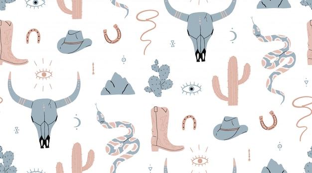 Modèle sans couture. far west, crâne de buffle, oeil, montagnes, cactus, chapeau de cowboy, botte de cowboy, vipère.