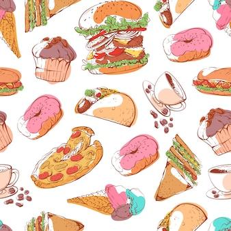 Modèle sans couture fast-food avec des collations de rue