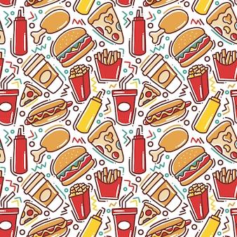 Modèle sans couture de fast-food doodle