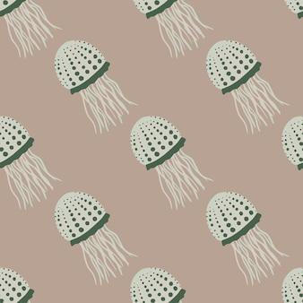 Modèle sans couture de la faune avec des silhouettes de méduses aquatiques.