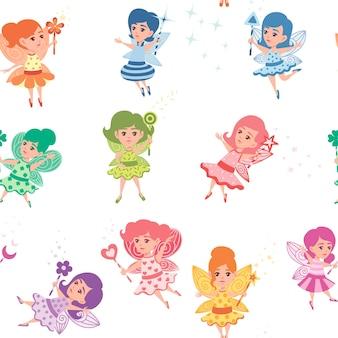 Modèle sans couture de fée papillon volante avec une baguette magique de forme différente et portant des vêtements colorés cartoon character design plat vector illustration.