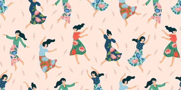 Modèle sans couture avec des femmes dansantes mignonnes. concept pour la journée internationale de la femme et autres utilisations.