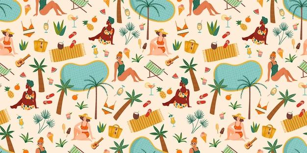 Modèle sans couture avec des femmes en maillot de bain sur la plage tropicale