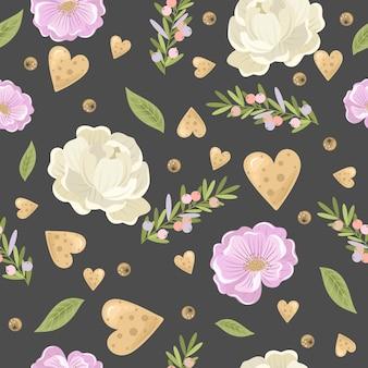Modèle sans couture festif avec des fleurs
