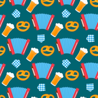 Modèle sans couture de festival bavarois d'oktoberfest avec l'accordéon et les verres de bretzel et de drapeau de bière