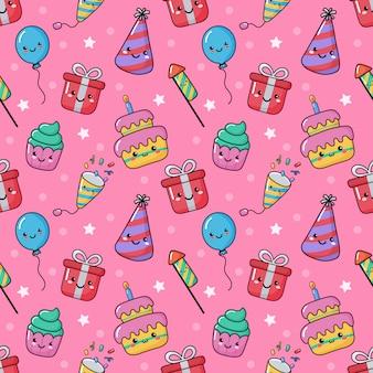 Modèle sans couture de fête drôle de fête drôle. style kawaii festif de carnaval d'anniversaire