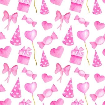 Modèle sans couture de fête rose mignon aquarelle. anniversaire de la fille, fond de la saint-valentin