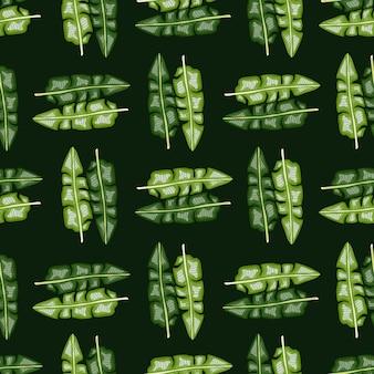 Modèle sans couture de feuillage hawaï de style abstrait avec ornement de feuille de bananier tropical vert. fond noir.